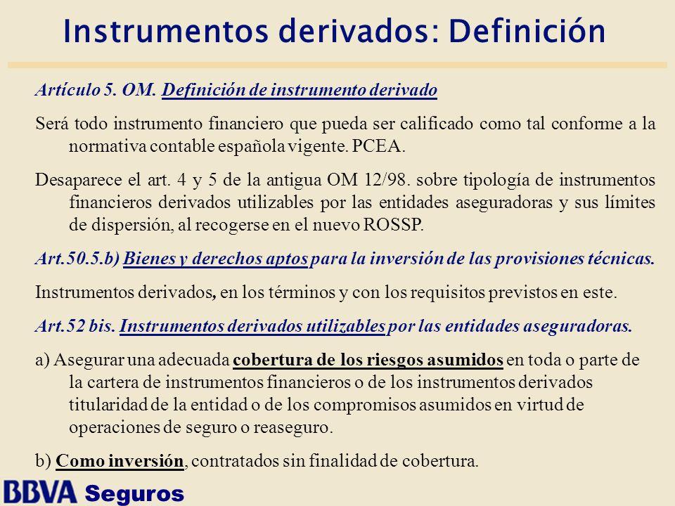 Seguros Instrumentos derivados: Definición Artículo 5. OM. Definición de instrumento derivado Será todo instrumento financiero que pueda ser calificad