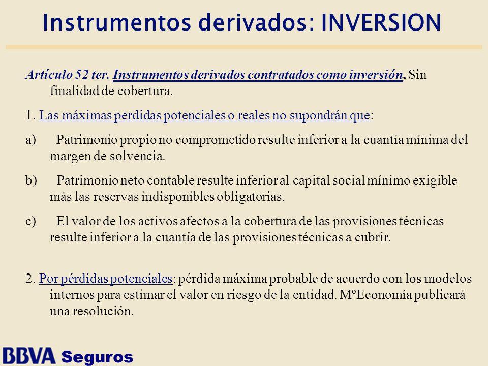 Seguros Instrumentos derivados: INVERSION Artículo 52 ter. Instrumentos derivados contratados como inversión, Sin finalidad de cobertura. 1. Las máxim