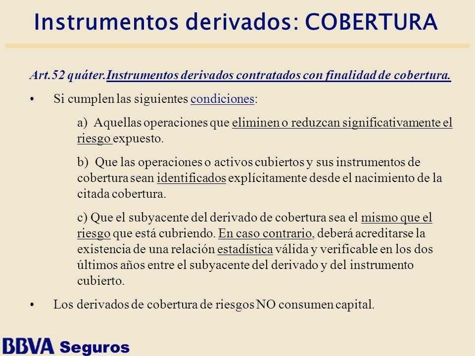 Seguros Instrumentos derivados: COBERTURA Art.52 quáter.Instrumentos derivados contratados con finalidad de cobertura. Si cumplen las siguientes condi