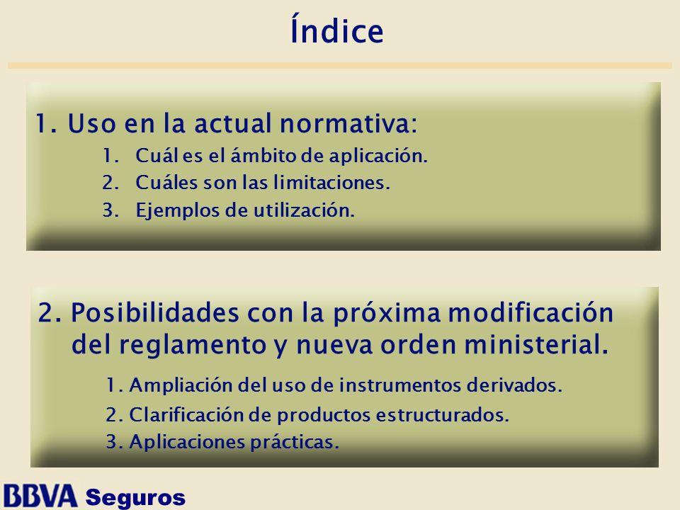 Seguros Índice 2. Posibilidades con la próxima modificación del reglamento y nueva orden ministerial. 1. Ampliación del uso de instrumentos derivados.