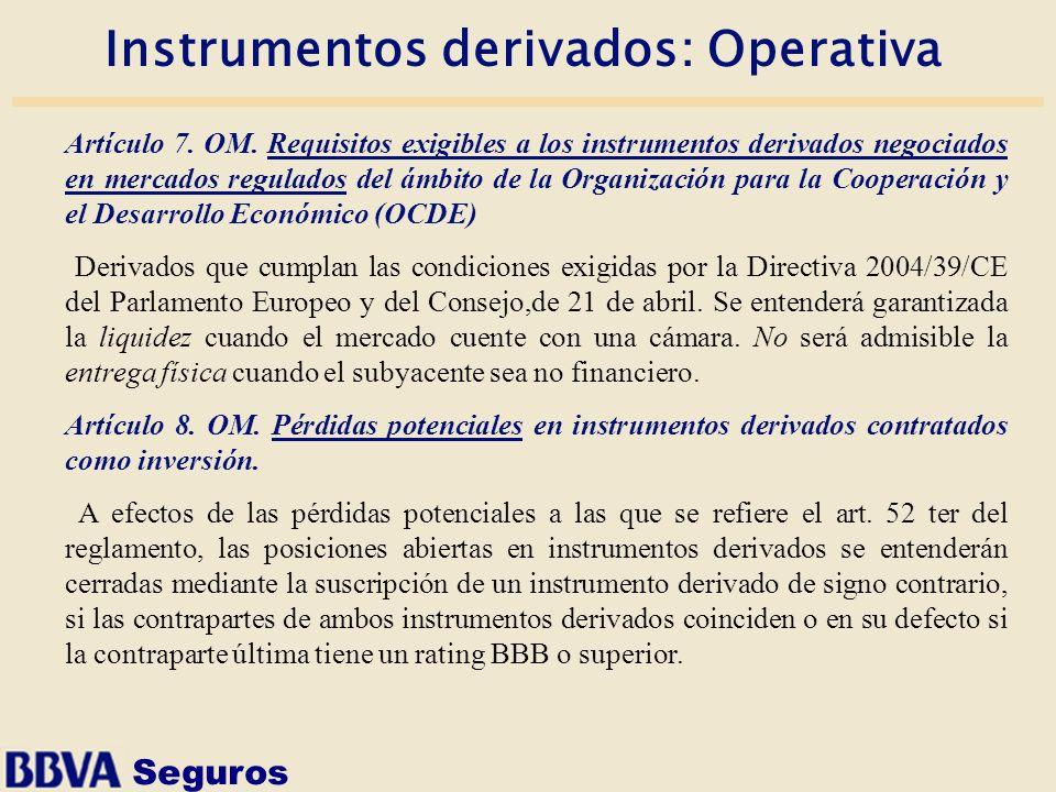 Seguros Instrumentos derivados: Operativa Artículo 7. OM. Requisitos exigibles a los instrumentos derivados negociados en mercados regulados del ámbit