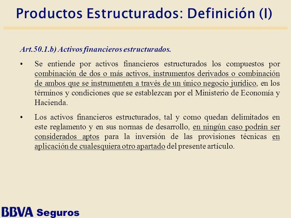 Seguros Productos Estructurados: Definición (I) Art.50.1.b) Activos financieros estructurados. Se entiende por activos financieros estructurados los c