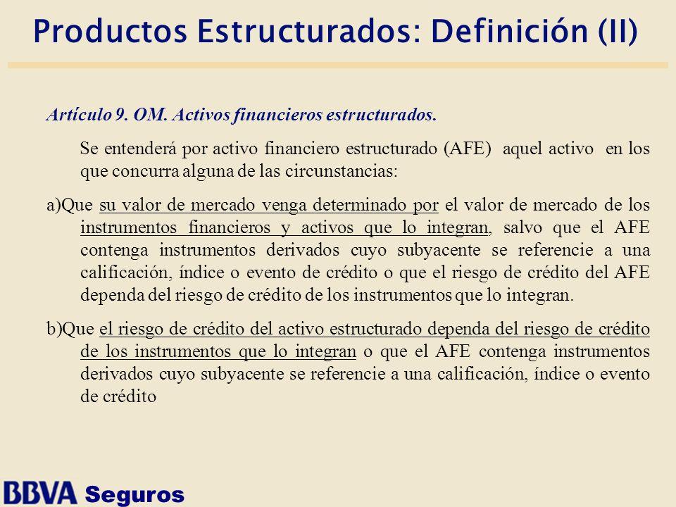 Seguros Productos Estructurados: Definición (II) Artículo 9. OM. Activos financieros estructurados. Se entenderá por activo financiero estructurado (A