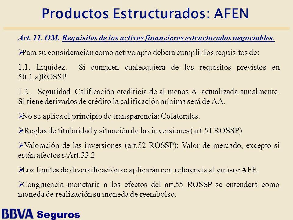 Seguros Productos Estructurados: AFEN Art. 11. OM. Requisitos de los activos financieros estructurados negociables. Para su consideración como activo