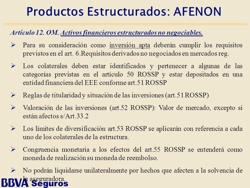 Seguros Productos Estructurados: AFENON Artículo 12. OM. Activos financieros estructurados no negociables. Para su consideración como inversión apta d