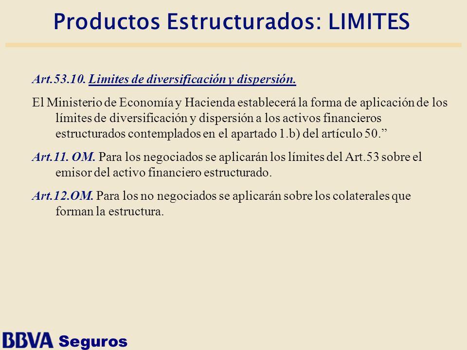 Seguros Productos Estructurados: LIMITES Art.53.10. Limites de diversificación y dispersión. El Ministerio de Economía y Hacienda establecerá la forma