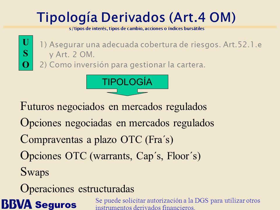 Seguros Tipología Derivados (Art.4 OM) s/tipos de interés, tipos de cambio, acciones o índices bursátiles 1) Asegurar una adecuada cobertura de riesgo
