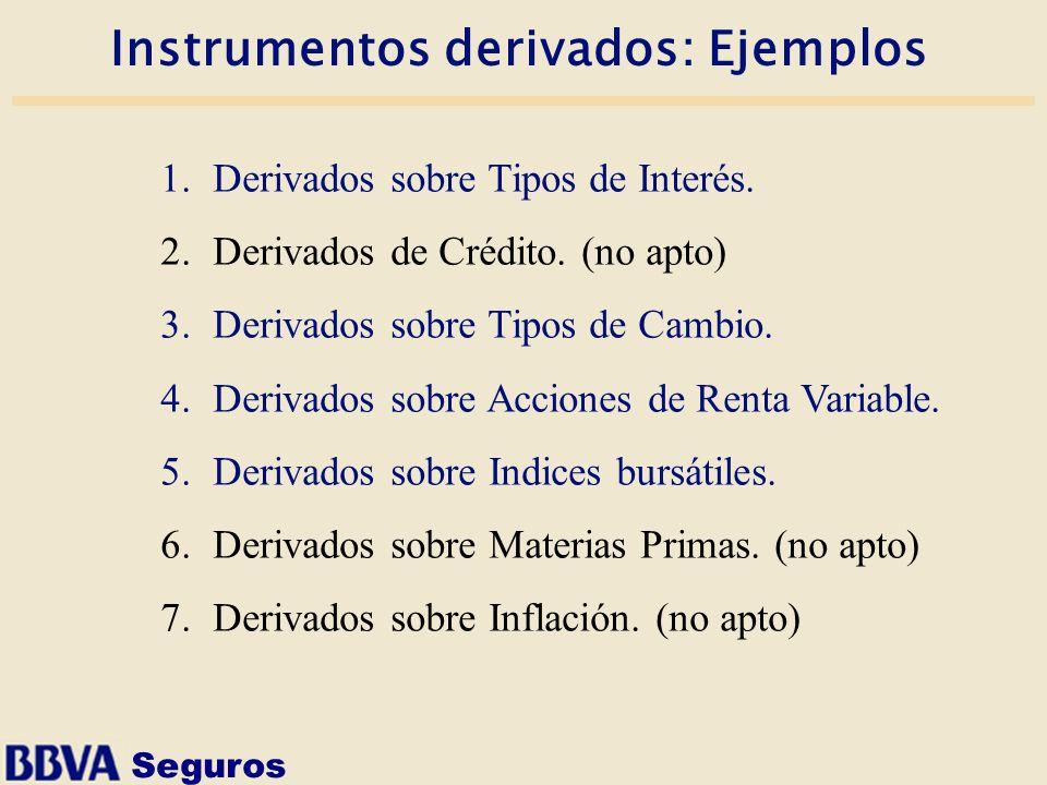 Seguros Instrumentos derivados: Ejemplos 1.Derivados sobre Tipos de Interés. 2.Derivados de Crédito. (no apto) 3.Derivados sobre Tipos de Cambio. 4.De