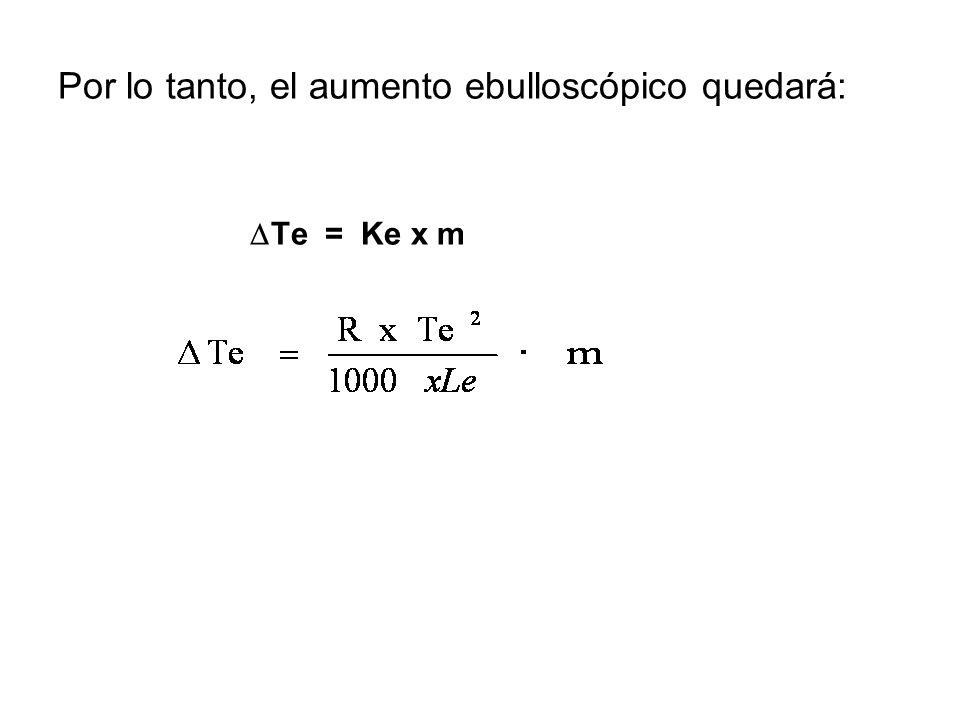 Por lo tanto, el aumento ebulloscópico quedará: Te = Ke x m