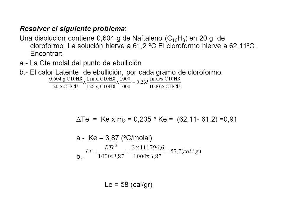 Resolver el siguiente problema: Una disolución contiene 0,604 g de Naftaleno (C 10 H 8 ) en 20 g de cloroformo. La solución hierve a 61,2 ºC.El clorof