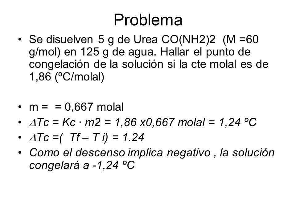 Problema Se disuelven 5 g de Urea CO(NH2)2 (M =60 g/mol) en 125 g de agua. Hallar el punto de congelación de la solución si la cte molal es de 1,86 (º