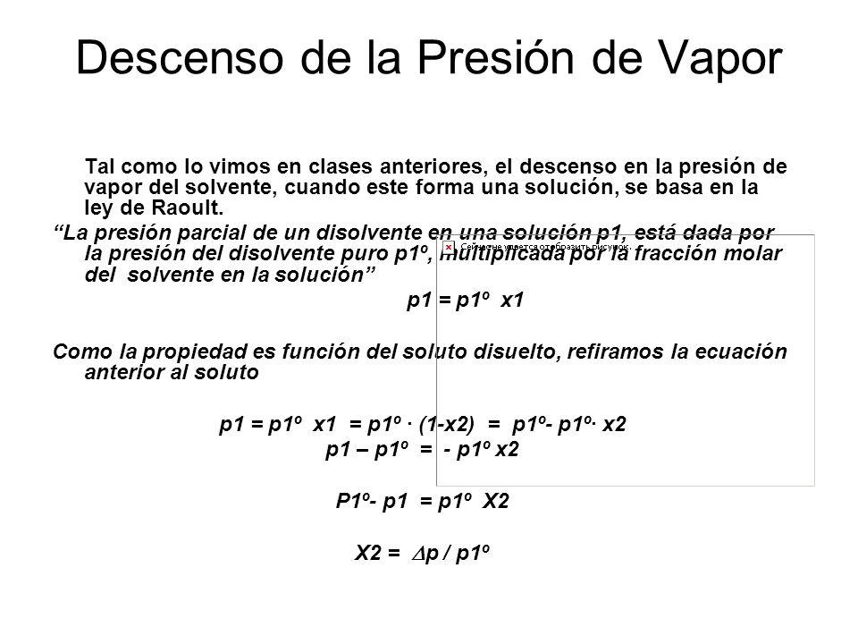 Descenso de la Presión de Vapor Tal como lo vimos en clases anteriores, el descenso en la presión de vapor del solvente, cuando este forma una solución, se basa en la ley de Raoult.