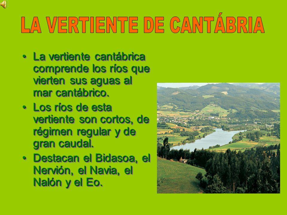 La vertiente cantábrica comprende los ríos que vierten sus aguas al mar cantábrico.La vertiente cantábrica comprende los ríos que vierten sus aguas al
