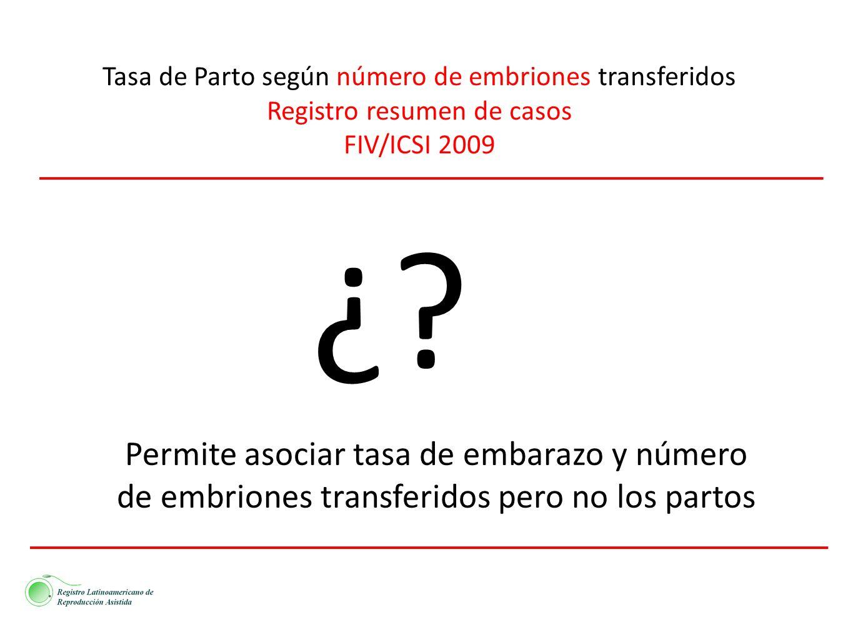 Tasa de Parto según número de embriones transferidos Registro resumen de casos FIV/ICSI 2009 ¿? Permite asociar tasa de embarazo y número de embriones
