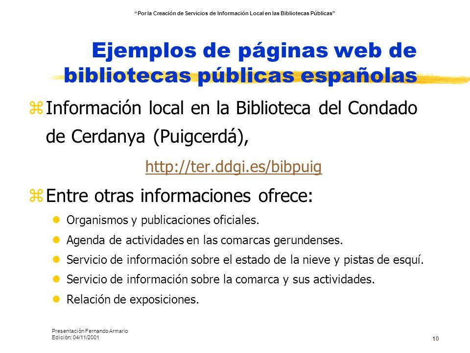 10 Ejemplos de páginas web de bibliotecas públicas españolas zInformación local en la Biblioteca del Condado de Cerdanya (Puigcerdá), http://ter.ddgi.
