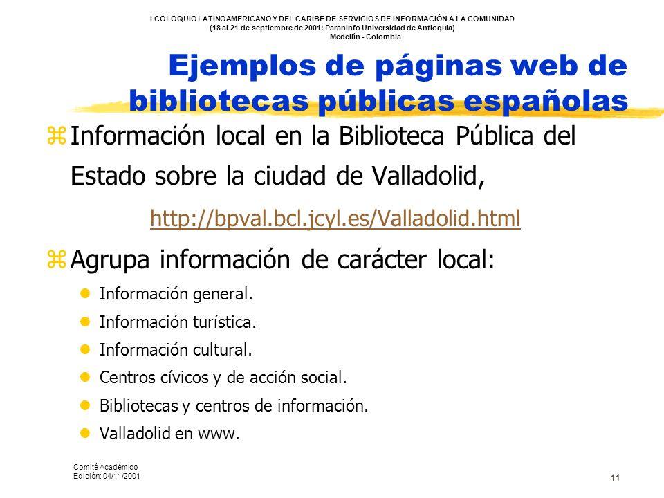 11 Ejemplos de páginas web de bibliotecas públicas españolas zInformación local en la Biblioteca Pública del Estado sobre la ciudad de Valladolid, htt