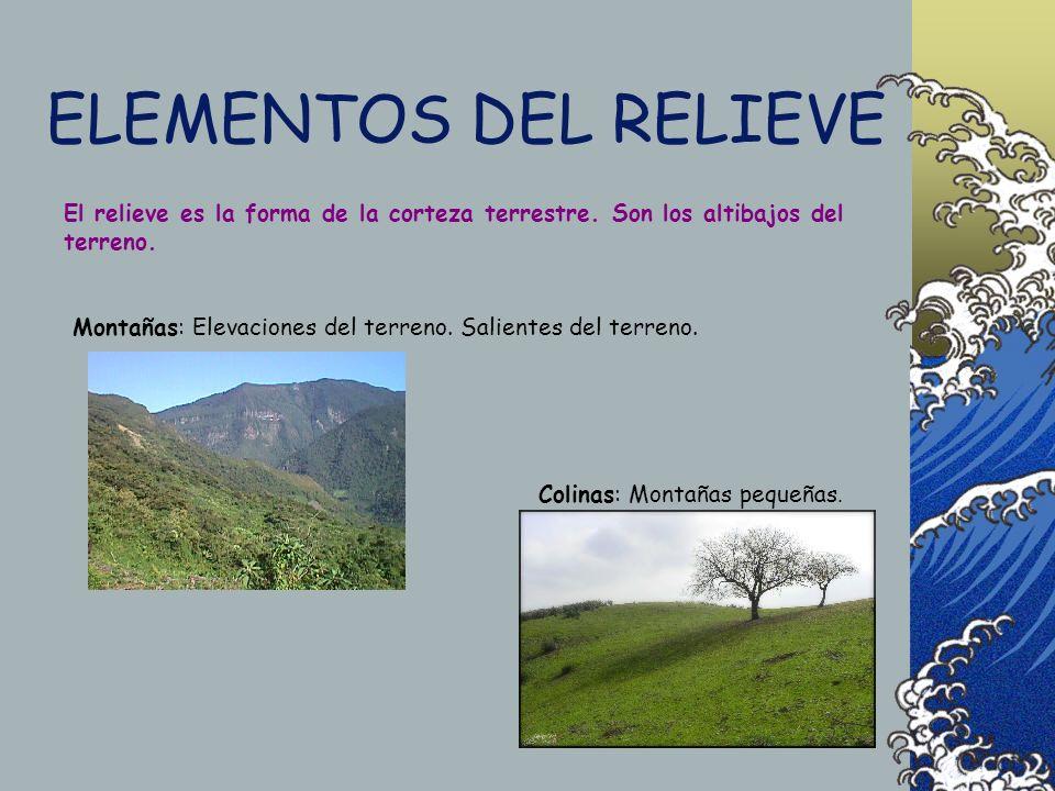 ELEMENTOS DEL RELIEVE El relieve es la forma de la corteza terrestre.