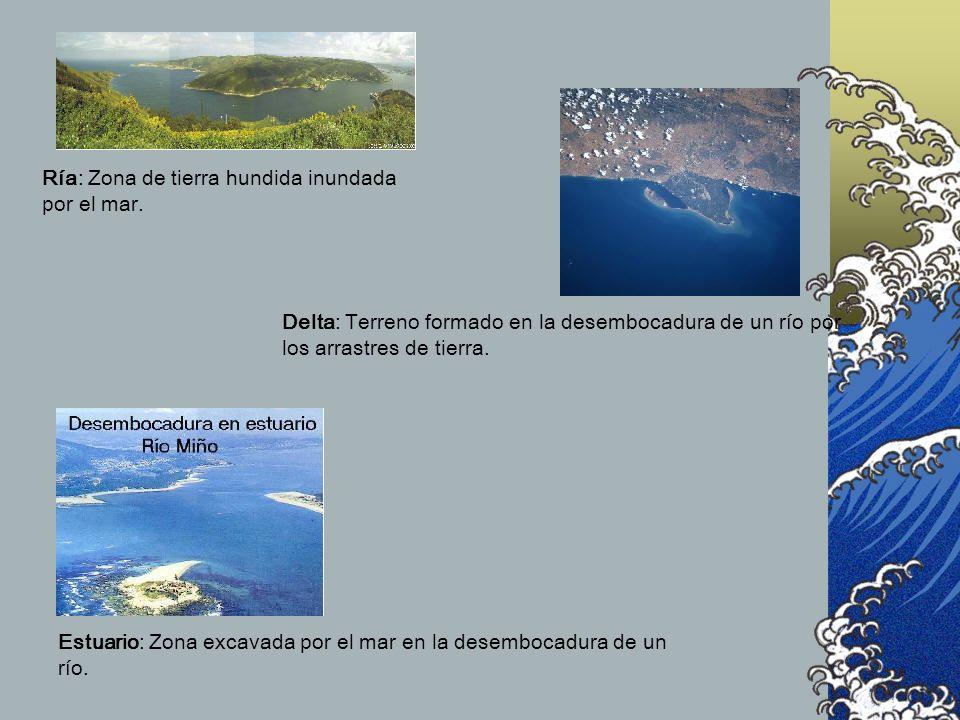 Ría: Zona de tierra hundida inundada por el mar. Delta: Terreno formado en la desembocadura de un río por los arrastres de tierra. Estuario: Zona exca
