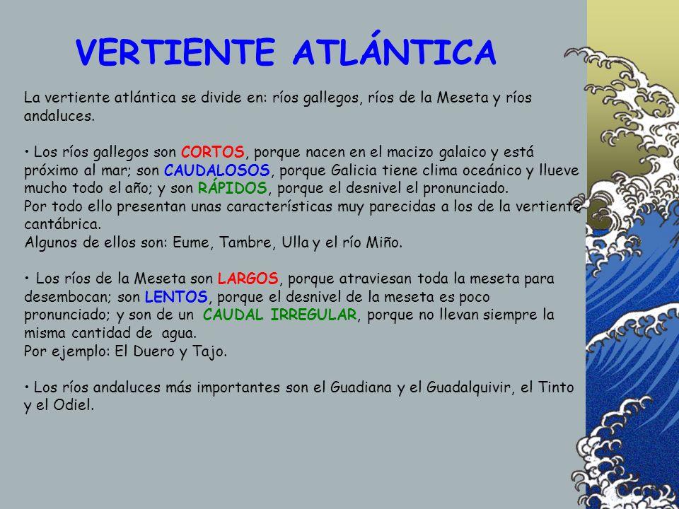 La vertiente atlántica se divide en: ríos gallegos, ríos de la Meseta y ríos andaluces. Los ríos gallegos son CORTOS, porque nacen en el macizo galaic