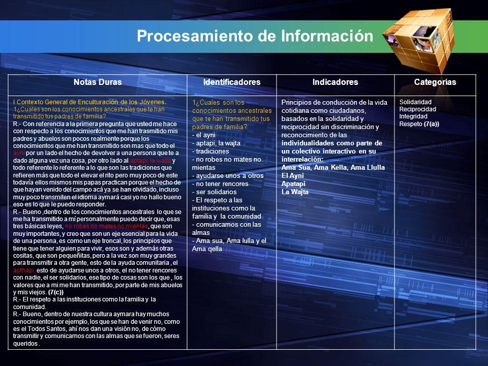 Procesamiento de Información Notas DurasIdentificadoresIndicadoresCategorías I Contexto General de Enculturación de los Jóvenes.