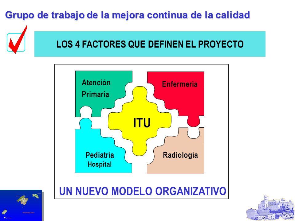 ITU Pediatría Hospital Enfermería Radiología LOS 4 FACTORES QUE DEFINEN EL PROYECTO UN NUEVO MODELO ORGANIZATIVO Grupo de trabajo de la mejora continu