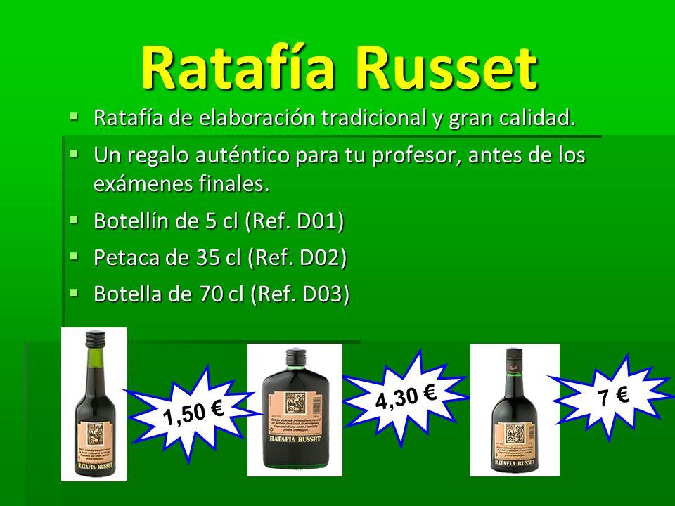Ratafía Russet Ratafía Russet Ratafía de elaboración tradicional y gran calidad. Ratafía de elaboración tradicional y gran calidad. Un regalo auténtic