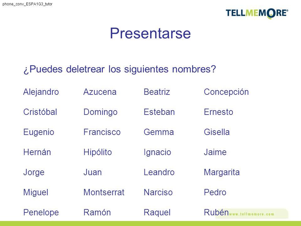 Presentarse ¿Puedes deletrear los siguientes nombres? AlejandroAzucena BeatrizConcepción Cristóbal DomingoEstebanErnesto EugenioFranciscoGemmaGisella