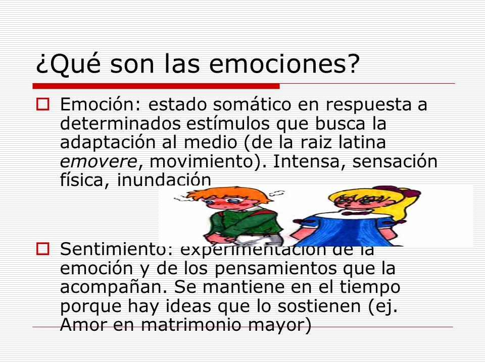 ¿Qué son las emociones? Emoción: estado somático en respuesta a determinados estímulos que busca la adaptación al medio (de la raiz latina emovere, mo