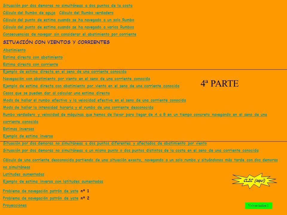 El compás Rumbo cuadrantal y circular Rumbo Demora Marcación Utilidad de las demoras Utilidad de las marcaciones Método para hallar la demora de un objeto a partir de su marcación Declinación magnética Variación magnética Desvío Rumbo verdadero Rumbo de aguja Corrección total Modo de calcular la corrección total con los datos de la carta Las coordenadas geográficas: Longitud y latitud Navegación de estima Apartamiento Derrota Loxodrómica Derrota Ortodrómica SITUACIÓN POR DEMORAS Y ENFILACIONES Situación por dos demoras simultáneas a un punto de la costa Situación por distancia y demora Situación por dos distancias simultáneas Situación por sonda y demora Situación por enfilación y demora Situación por dos enfilaciones Situación por dos demoras no simultáneas a un mismo punto de la costa CLIC