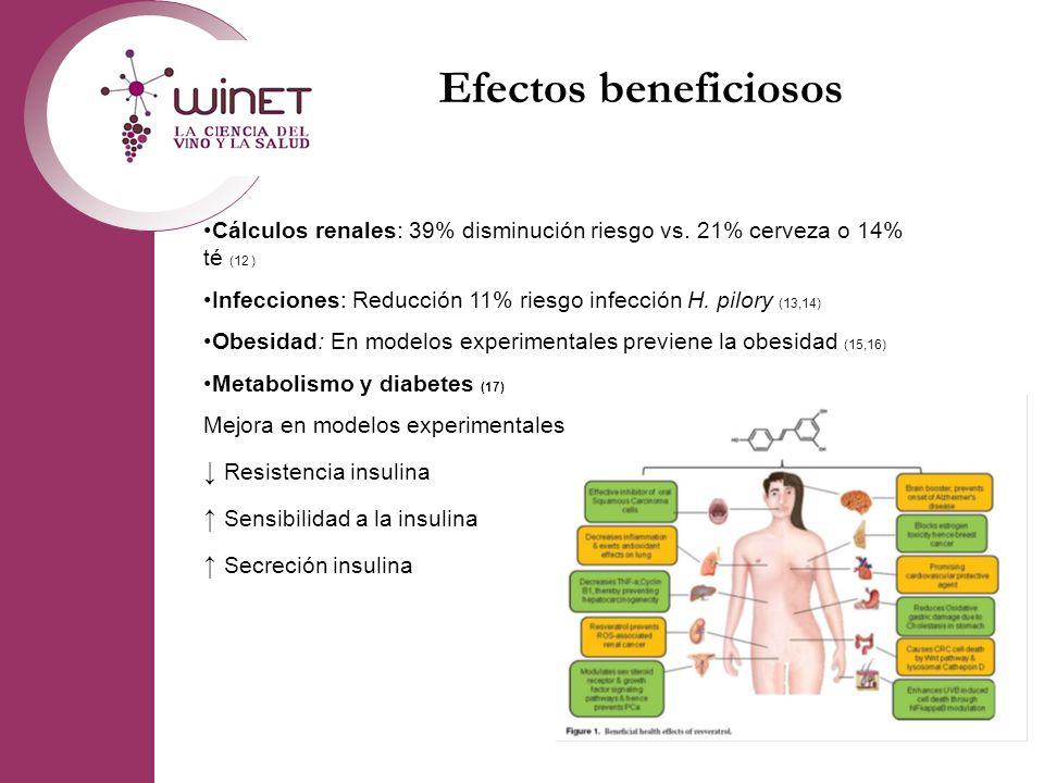 Efectos beneficiosos Cálculos renales: 39% disminución riesgo vs. 21% cerveza o 14% té (12 ) Infecciones: Reducción 11% riesgo infección H. pilory (13