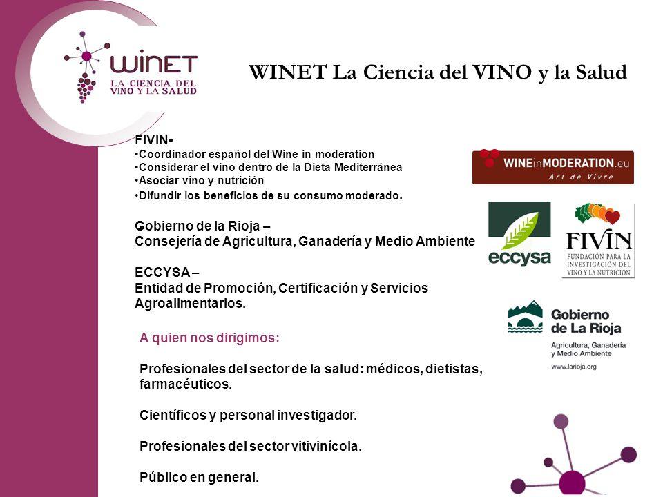 FIVIN- Coordinador español del Wine in moderation Considerar el vino dentro de la Dieta Mediterránea Asociar vino y nutrición Difundir los beneficios