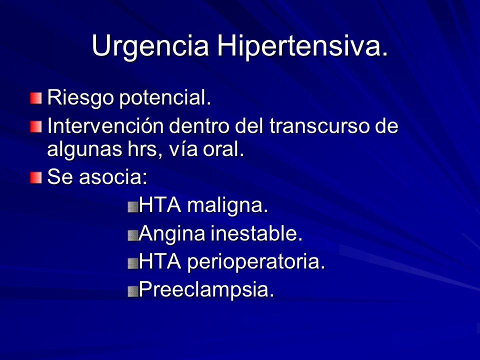 Urgencia Hipertensiva. Riesgo potencial.