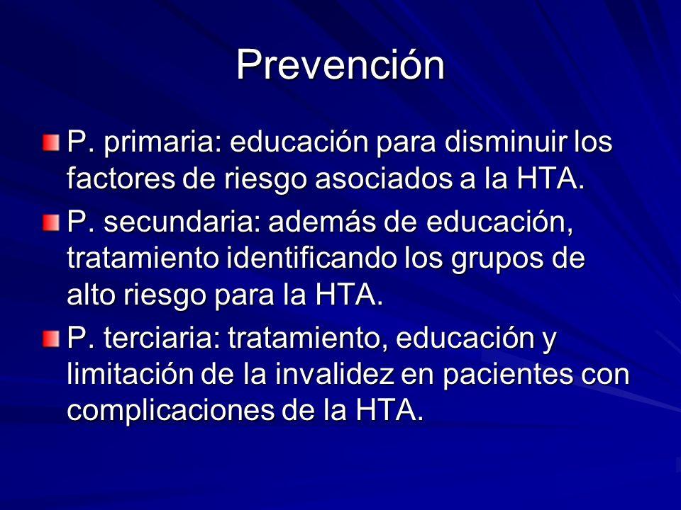 Prevención P. primaria: educación para disminuir los factores de riesgo asociados a la HTA.
