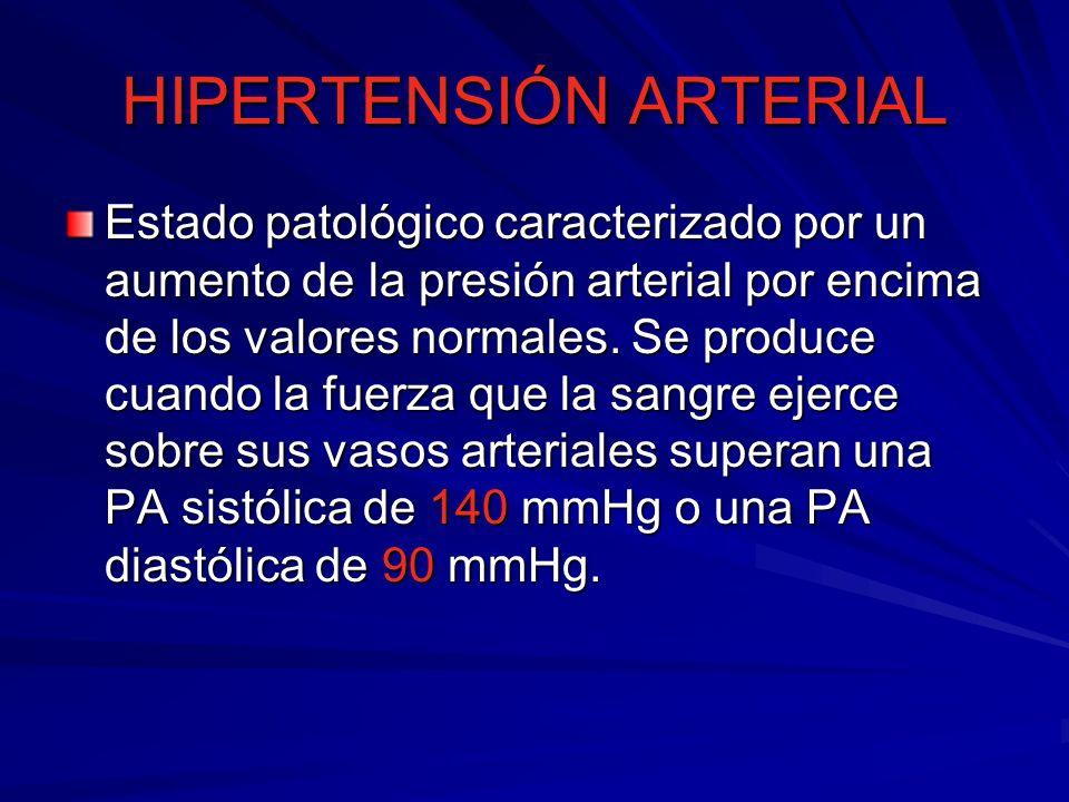HIPERTENSIÓN ARTERIAL Estado patológico caracterizado por un aumento de la presión arterial por encima de los valores normales.