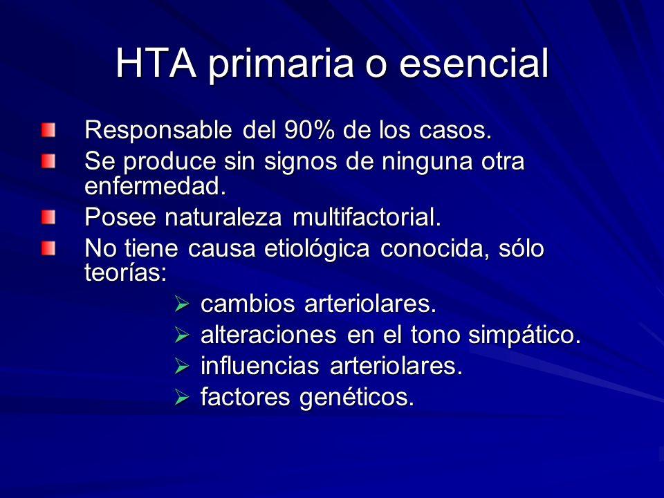 HTA primaria o esencial Responsable del 90% de los casos.