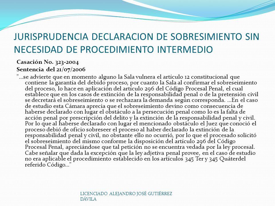 LICENCIADO ALEJANDRO JOSÉ GUTIÉRREZ DÁVILA JURISPRUDENCIA DECLARACION DE SOBRESIMIENTO SIN NECESIDAD DE PROCEDIMIENTO INTERMEDIO Casación No.