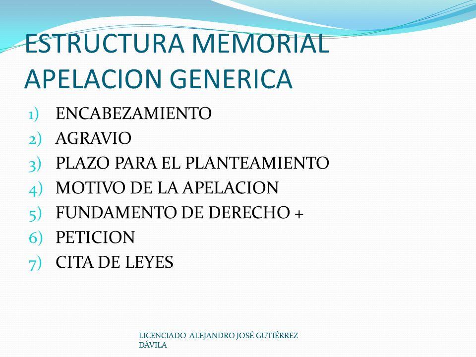 ESTRUCTURA MEMORIAL APELACION GENERICA 1) ENCABEZAMIENTO 2) AGRAVIO 3) PLAZO PARA EL PLANTEAMIENTO 4) MOTIVO DE LA APELACION 5) FUNDAMENTO DE DERECHO + 6) PETICION 7) CITA DE LEYES LICENCIADO ALEJANDRO JOSÉ GUTIÉRREZ DÁVILA