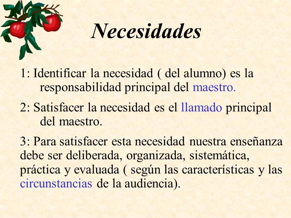 Necesidades 1: Identificar la necesidad ( del alumno) es la responsabilidad principal del maestro.