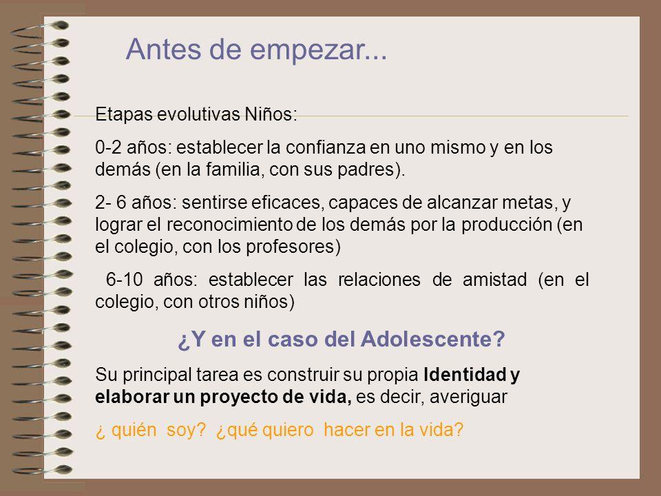 Antes de empezar... Etapas evolutivas Niños: 0-2 años: establecer la confianza en uno mismo y en los demás (en la familia, con sus padres). 2- 6 años: