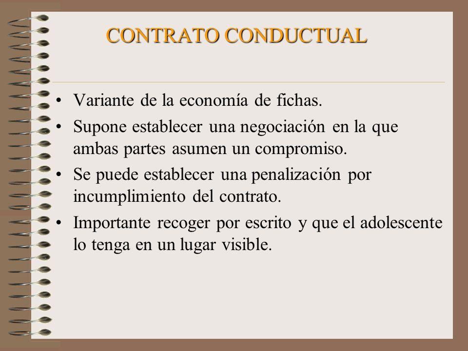 CONTRATO CONDUCTUAL Variante de la economía de fichas. Supone establecer una negociación en la que ambas partes asumen un compromiso. Se puede estable
