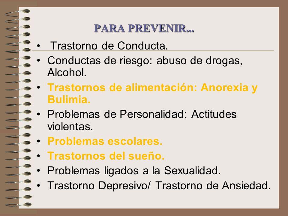 PARA PREVENIR... Trastorno de Conducta. Conductas de riesgo: abuso de drogas, Alcohol. Trastornos de alimentación: Anorexia y Bulimia. Problemas de Pe