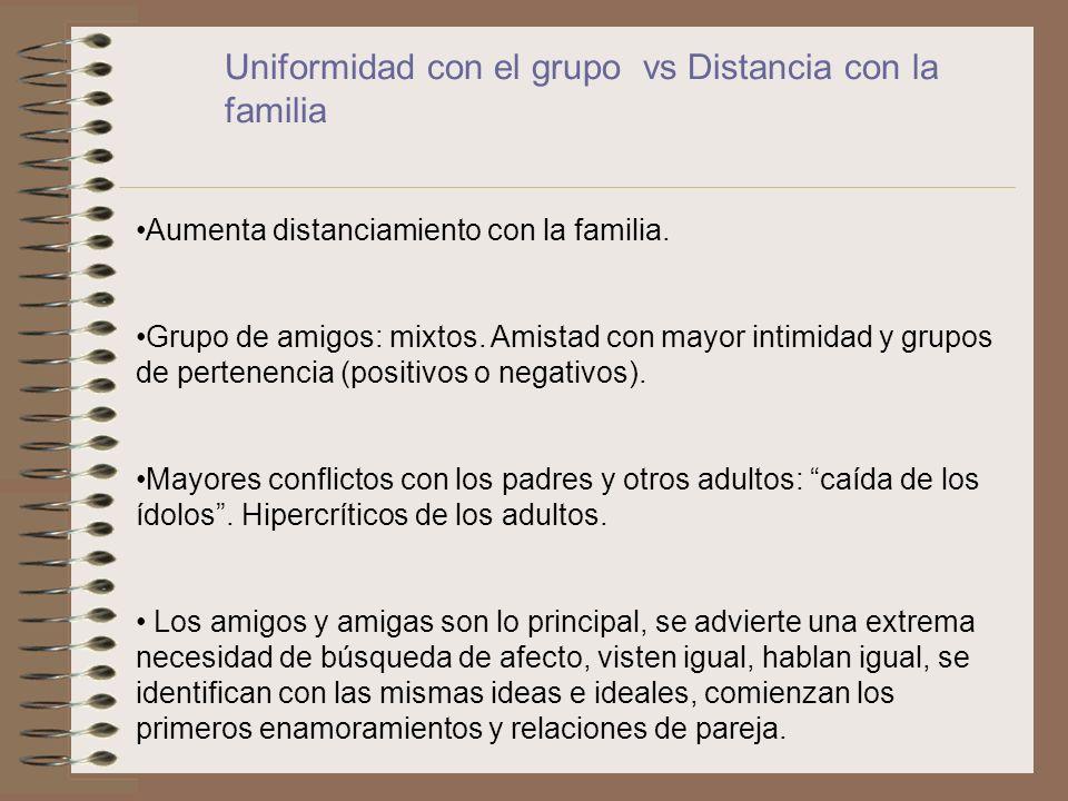 Uniformidad con el grupo vs Distancia con la familia Aumenta distanciamiento con la familia. Grupo de amigos: mixtos. Amistad con mayor intimidad y gr
