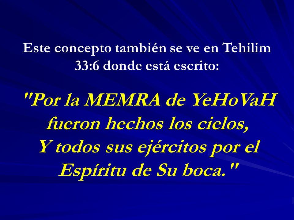 Este concepto también se ve en Tehilim 33:6 donde está escrito: Por la MEMRA de YeHoVaH fueron hechos los cielos, Y todos sus ejércitos por el Espíritu de Su boca.