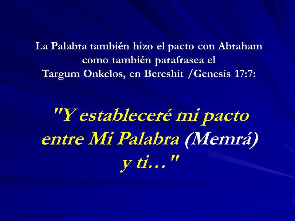 La Palabra también hizo el pacto con Abraham como también parafrasea el Targum Onkelos, en Bereshit /Genesis 17:7: Y estableceré mi pacto entre Mi Palabra (Memrá) y ti…