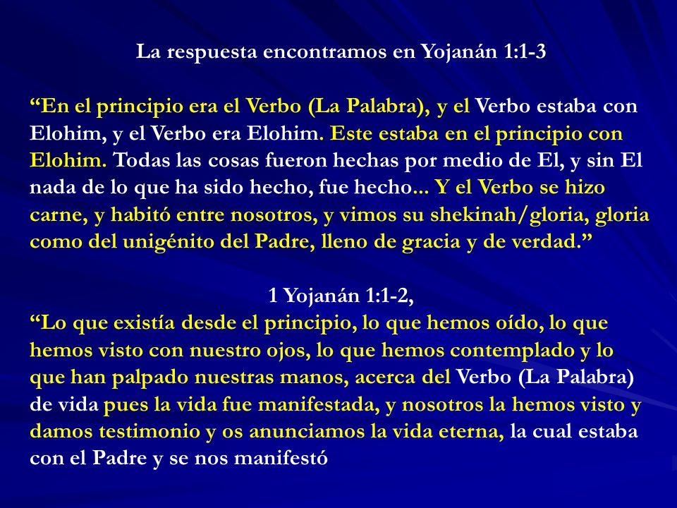 La respuesta encontramos en Yojanán 1:1-3 En el principio era el Verbo (La Palabra), y el Verbo estaba con Elohim, y el Verbo era Elohim.
