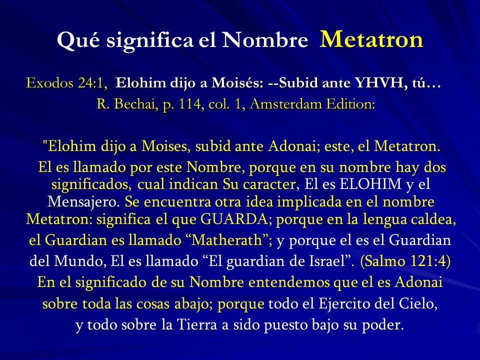 Qué significa el Nombre Metatron Exodos 24:1, Elohim dijo a Moisés: --Subid ante YHVH, tú… Exodos 24:1, Elohim dijo a Moisés: --Subid ante YHVH, tú… R.