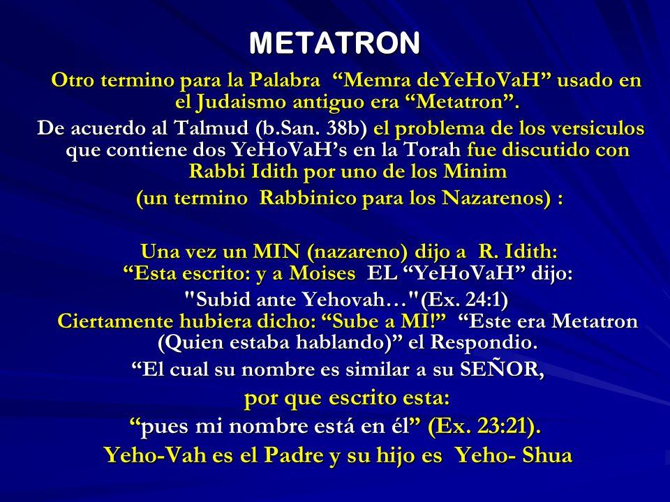 METATRON Otro termino para la Palabra Memra deYeHoVaH usado en el Judaismo antiguo era Metatron. Otro termino para la Palabra Memra deYeHoVaH usado en