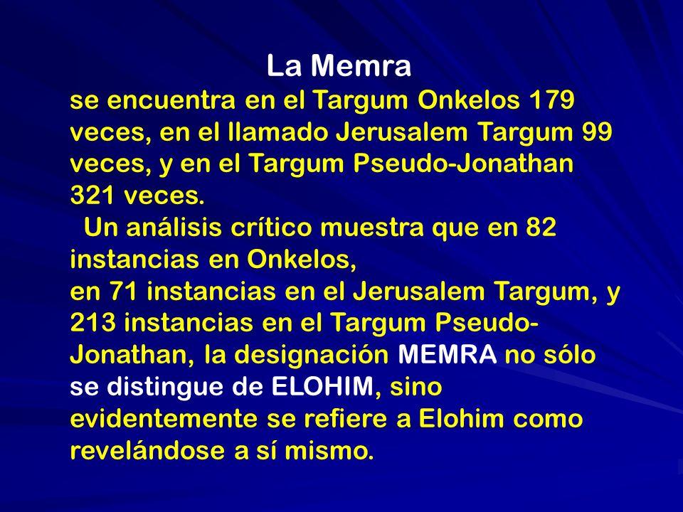 La Memra se encuentra en el Targum Onkelos 179 veces, en el llamado Jerusalem Targum 99 veces, y en el Targum Pseudo-Jonathan 321 veces. Un análisis c