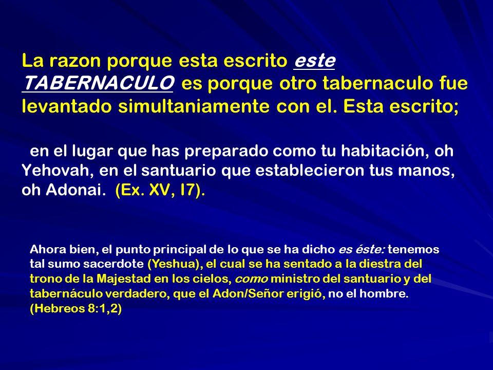 La razon porque esta escrito este TABERNACULO es porque otro tabernaculo fue levantado simultaniamente con el. Esta escrito; en el lugar que has prepa