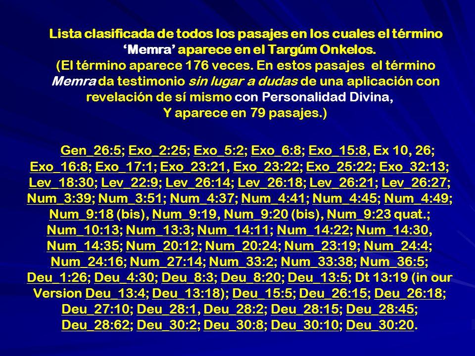Lista clasificada de todos los pasajes en los cuales el término Memra aparece en el Targúm Onkelos. (El término aparece 176 veces. En estos pasajes el